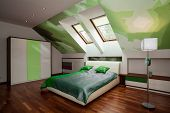 Stylish White And Green Bedroom