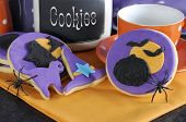 Happy Halloween Party Trick Or Treat Purple And Orange Cookies With Spiders And Cookie Jar - Close U