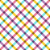 Colorful plaid fabric background with yellow blue and pink. Abstract seamless vector pattern.