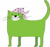 A green cat wearing a headscarf