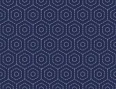 Traditional Japanese Embroidery Ornament with hexagons. Vector seamless pattern.