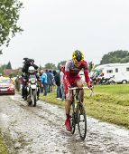 The Cyclist Rein Taaramae On A Cobbled Road - Tour De France 2014