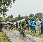 The Cyclist Bauke Mollema On A Cobbled Road - Tour De France 2014