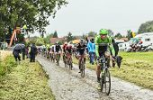 The Cyclist Lars Boom On A Cobbled Road - Tour De France 2014