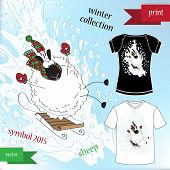 Sheep in winter hat Graphic T- shirt design print