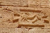 pic of pene  - Indication Roman road in the archaeological site of Leptis Magna Libya - JPG