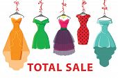 Colorful Fashion Colored Dresses Hang On Ribbon.total Sale