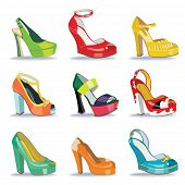 Colorful Fashion Women's High Heel Shoes.white Background
