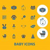baby, children, toys icons, signs, symbols set, vector