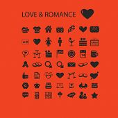 love, wedding, romance, family icons, signs, symbols set, vector