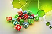 3D Colored Cube Alphabet