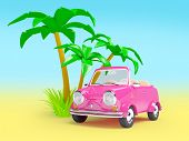 pink small car on the beach