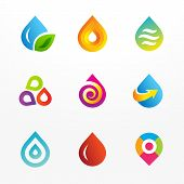 stock photo of drop oil  - Water drop symbol logo and icons set - JPG