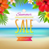 Summer Sale Card, With Gradient Mesh, Vector Illustration