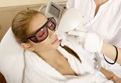 Laser hair removal in professional beauty studio. beauty parlor