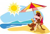 Funny cartoon monkey relaxing on beach chair by sea in summer vacation. Vector illustration