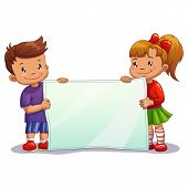 Cartoon boy and girl with big white paper