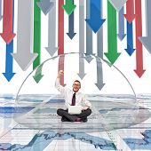 businessman and glass bubble finance background