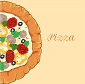 vector neapolitan pizza with white cheese, tomato