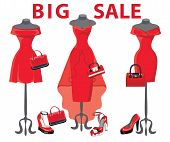 Set Of  Three Red Coctail Dresses With Accessories.big Sale