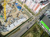 Bird's eye view on construction site