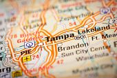 Tampa City On A Road Map