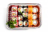 Sushi Box Food over White