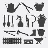 Gardening tools silhouette vector