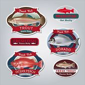 Fish labels set 4. Vector illustration.