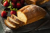 foto of pound cake  - Homemade Pound Cake with Strawberries and Cream - JPG