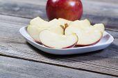 Fresh Apple Slices On Plate
