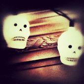 Instagram filtered image of Skull Halloween lights