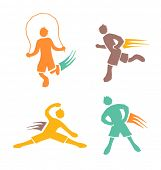 active sports boys icons vector set 4