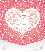 Cute Design For Greeting Card With Heart And Roses And Keys.