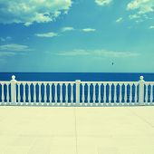Empty Terrace Overlooking The Sea
