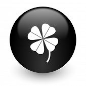 four-leaf clover black glossy internet icon