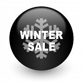 winter sale black glossy internet icon