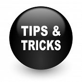 tips tricks black glossy internet icon
