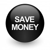 save money black glossy internet icon