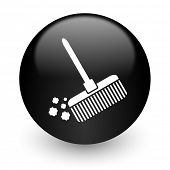 broom black glossy internet icon