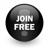 join free black glossy internet icon