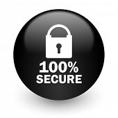 secure black glossy internet icon