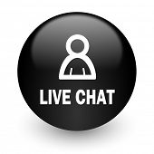 live chat black glossy internet icon