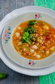 Traditional italian soup minestrone