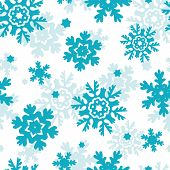 Blue Frost Snowflakes Seamless Pattern Background