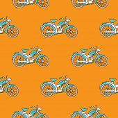 Seamless vintage motor bike illustration orange background pattern in vector