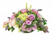 image of centerpiece  - Bouquet from artificial flowers arrangement centerpiece in vase isolated on white background - JPG