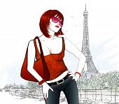 Young woman in Paris near Eiffel tower and Seine river - vector illustration