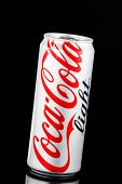 Thailand, Bangkok - January 18, 2014 Editorial Photo Of Light Coca-cola Can On Black Background. Coc
