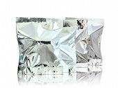 Foil Package On Reflect Floor And White Background